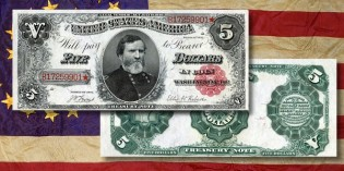 Paper Money – $5 Treasury Notes of 1890-1891 with General George H. Thomas