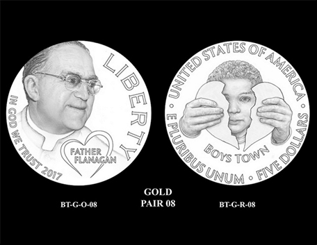 2017 Boys Town Centennial $5 gold coin design candidate pairs