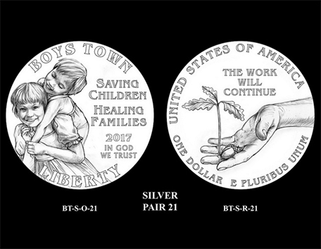 2017 Boys Town Centennial $1 silver coin design candidate pairs