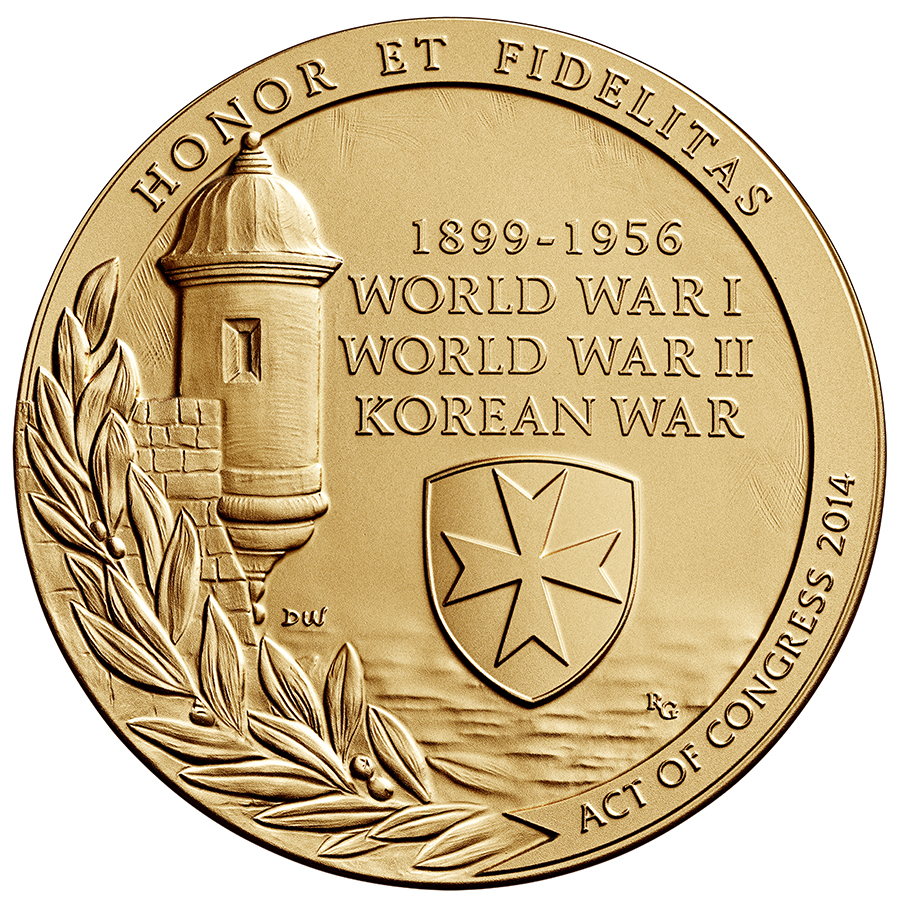 reverse, 2016 65th Infantry Borinqueneers Congressional Gold Medal