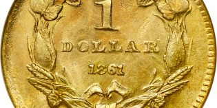 Counterfeit Coin Detection –  1861-D Gold Dollar – Added Mintmark