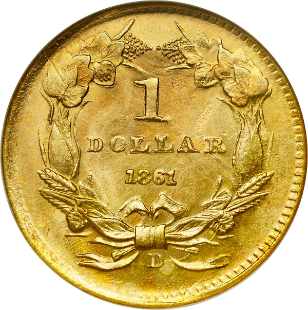 Counterfeit Coin Detection - 1861-D Gold Dollar - Added Mintmark