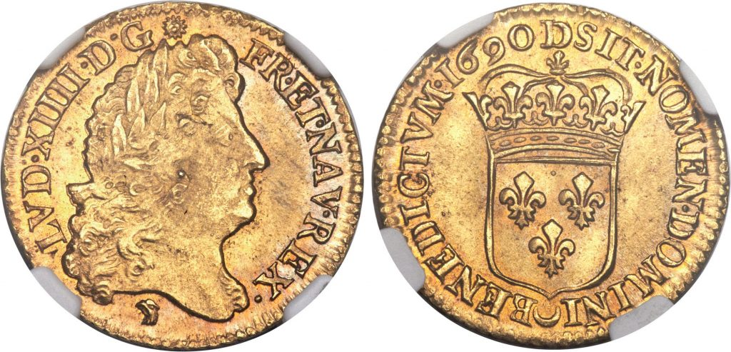 France 1690 gold Louis d'Or