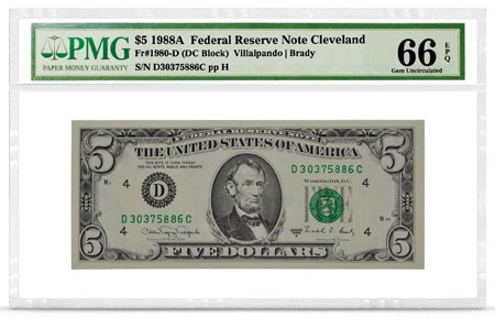 $5 1988A Federal Reserve Note Cleveland, front, PMG Graded 66 Gem Uncirculated EPQ. Image courtesy PMG