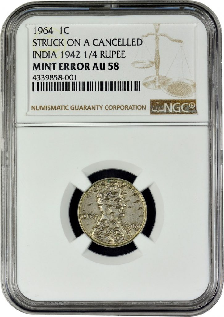 obverse, 1964 Lincoln Cent overstruck on India 1942 quarter rupee . Images courtesy NGC