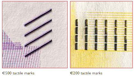 Tactile features of 500- and 200-Euro notes.. Image courtesy PMG
