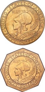 1915 Panama-Pacific Exposition $50 Gold Commemorative Round and Octagonal Coins. Images courtesy Heritage Auctions
