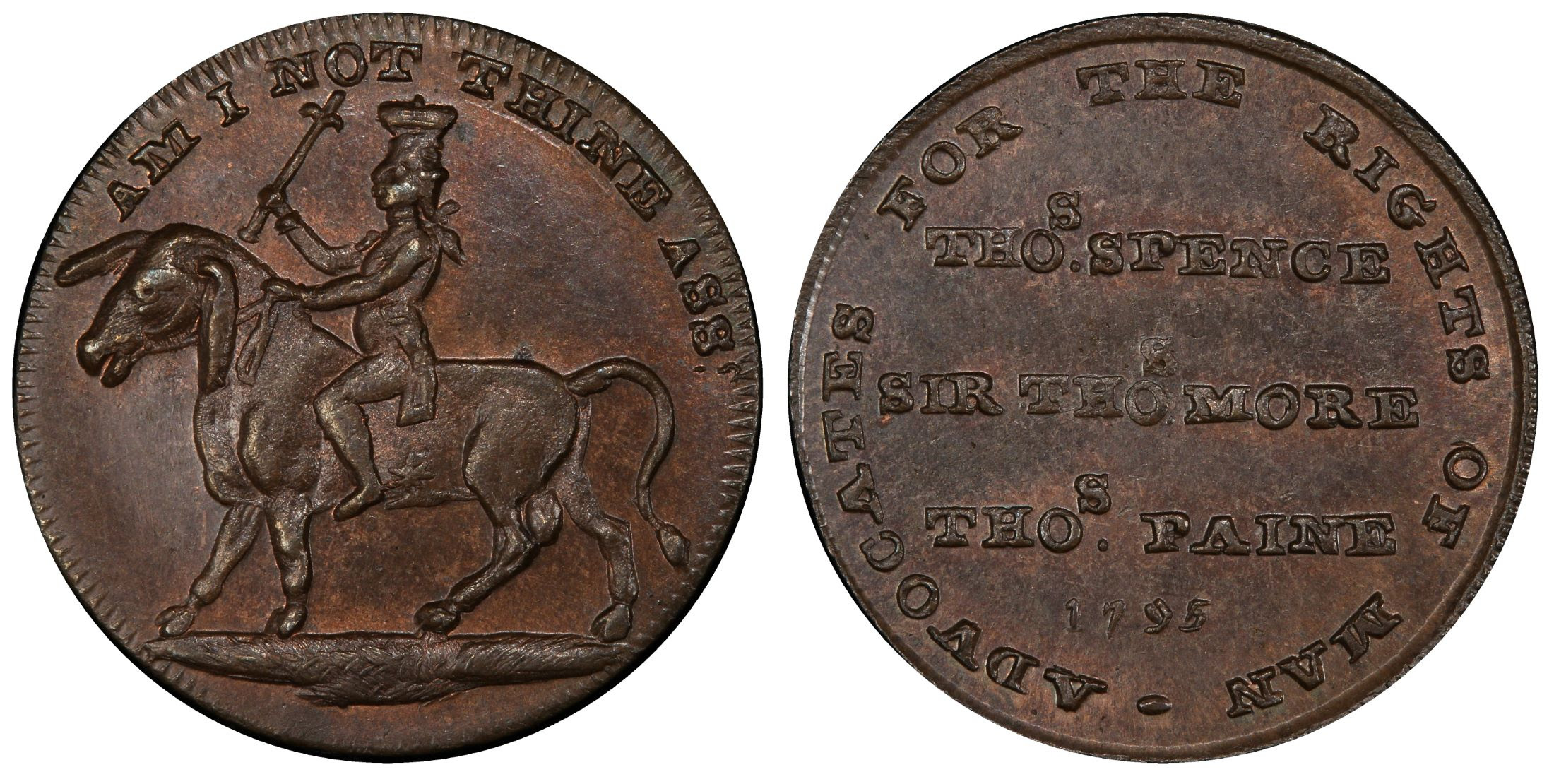 GREAT BRITAIN. Middlesex. 1795 CU Farthing Token. Images courtesy Atlas Numismatics