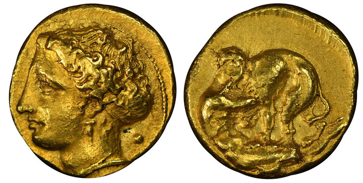 GREEK. SICILY. Syracuse. Dionysios I. (Tyrant, 407-367 BC). Struck c. 405-400 BC. AV 100 Litrae. Images courtesy Atlas Numismatics