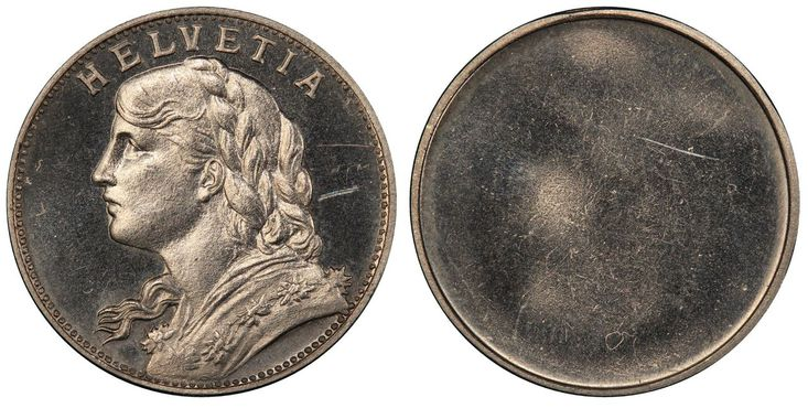 SWITZERLAND. 1897 (ND) Nickel 20 Francs, Uniface. PCGS SP64. Images courtesy Atlas Numismatics