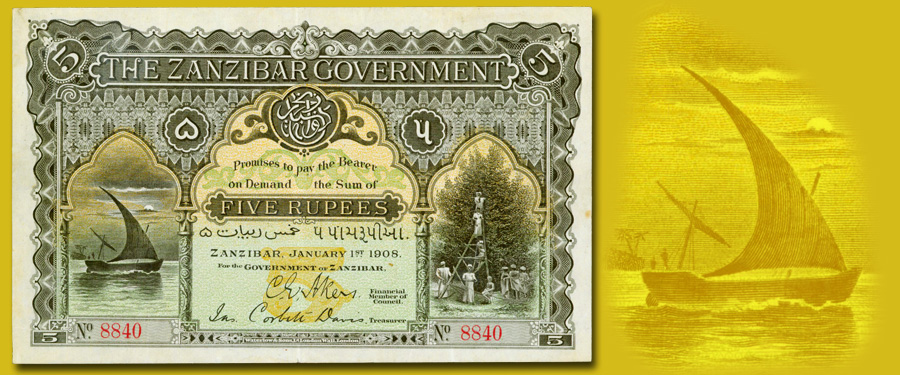 Finest known issued, uncancelled Zanzibar 1908 5 rupee banknote. Image courtesy Stack's Bowers