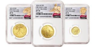 NGC Labels for Standing Liberty 100th Anniversary Gold Coins