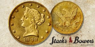 Prooflike Mint State 1848-O Liberty Eagle in Stack's Bowers Baltimore Rarities Night Auction
