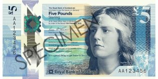 World Banknotes – Royal Bank of Scotland Issues New £5 Polymer Note