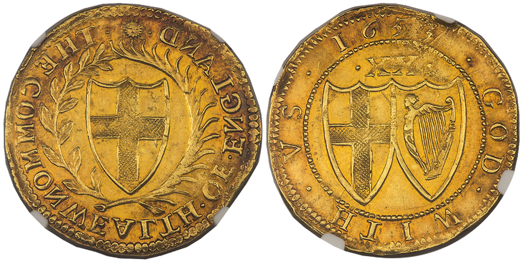 GREAT BRITAIN. England. 1653-(Sun) AV Unite. Images courtesy Atlas Numismatics