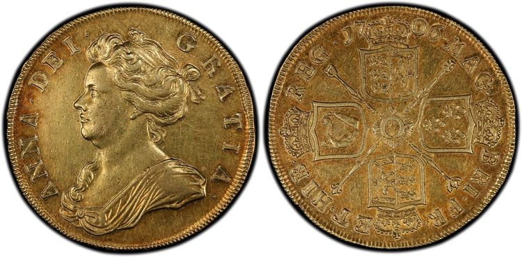 GREAT BRITAIN. England. Anne. (Queen, 1702-1714). 1706 AV Five Guineas. Images courtesy Atlas Numismatics