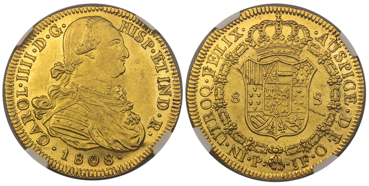 COLOMBIA. Charles IV. 1808-P JF AV 8 Escudos. Images courtesy Atlas Numismatics
