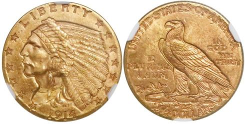 1914 Indian Head quarter eagle. Images courtesy Daniel Frank Sedwick, LLC