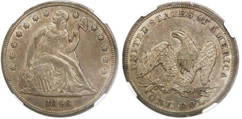 1846 Seated Liberty silver dollar. Images courtesy Daniel Frank Sedwick, LLC