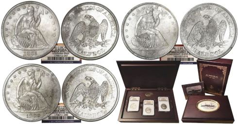 Set of three New Orleans-minted half dollars from SS Republic. Images courtesy Daniel Frank Sedwick, LLC