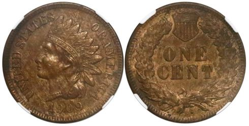 1909-S Indian Head cent. Images courtesy Daniel Frank Sedwick, LLC