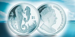 Pobjoy Mint Offers 2017 Turquoise Titanium Seahorse Coin for Christmas