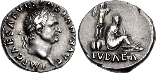 An example of the 'Judaea' denarius of Vespasian. Images courtesy NGC