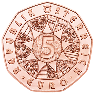 Obverse, Austria 2017 New Year: Waltzing in the New Year 2017 5 Euro Copper Coin. Image courtesy Austrian Mint