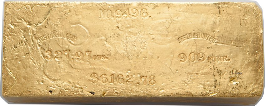 FUN Auction - Justh & Hunter Gold Ingot. 327.97 Ounces. Image courtesy Heritage Auctions