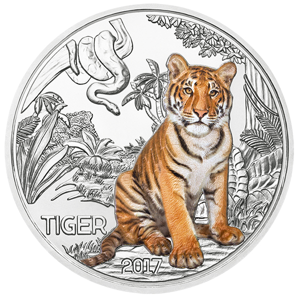 Obverse, Austria 2017 Colorful Creatures: The Tiger 3 Euro Glow-in-the-Dark Coin. Image courtesy Austrian Mint