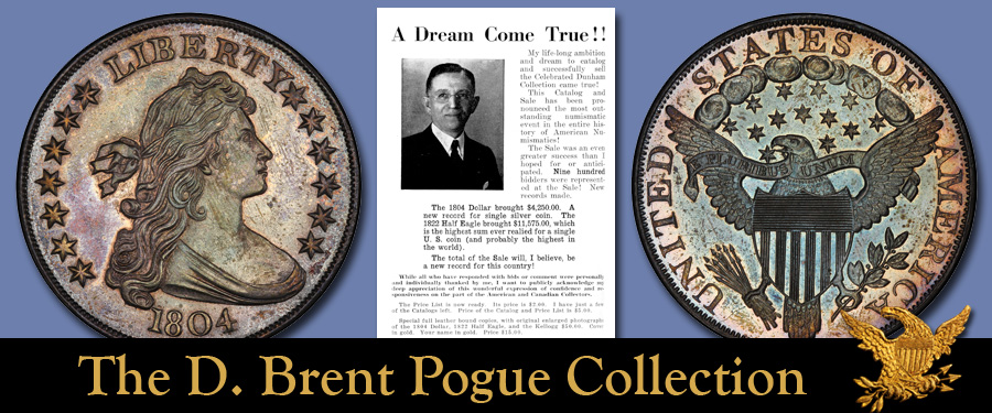 Dexter Specimen of the 1804 silver dollar, for sale in the D. Brent pogue Sale, Part V. Images courtesy Stack's Bowers Auctions