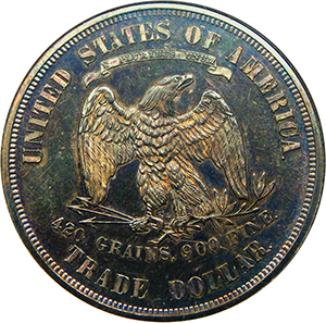 Reverse, United States 1873 Trade Dollar Silver Coin. Image courtesy David Lawrence Rare Coins
