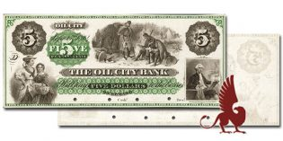 Paper Money Auction – Rare Oil City Bank $5 Color Proof