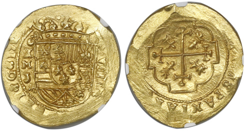 An MS 66 1713 Mexico gold 8 escudos from the 1715 Fleet. Images courtesy Daniel Frank Sedwick, LLC