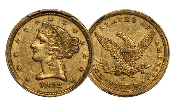 1842-C Five Dollar Gold Coin