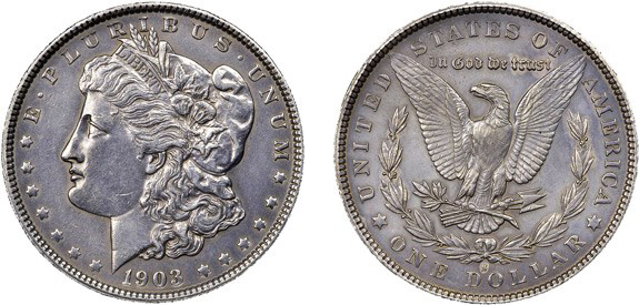United States 1903-S added S Morgan dollar counterfeit. Images courtesy NGC
