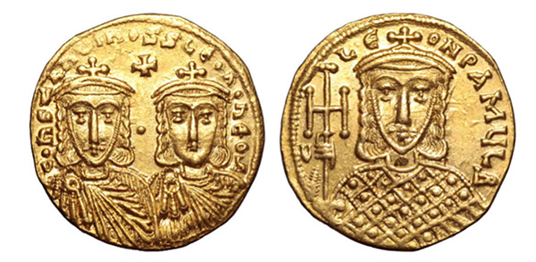 Constantine V Copronymus, with Leo IV and Leo III, AV Solidus. Constantinople, AD 750-756.