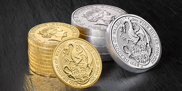 Royal Mint 2017 Queen's Beast Red Dragon Coins in Silver and Gold