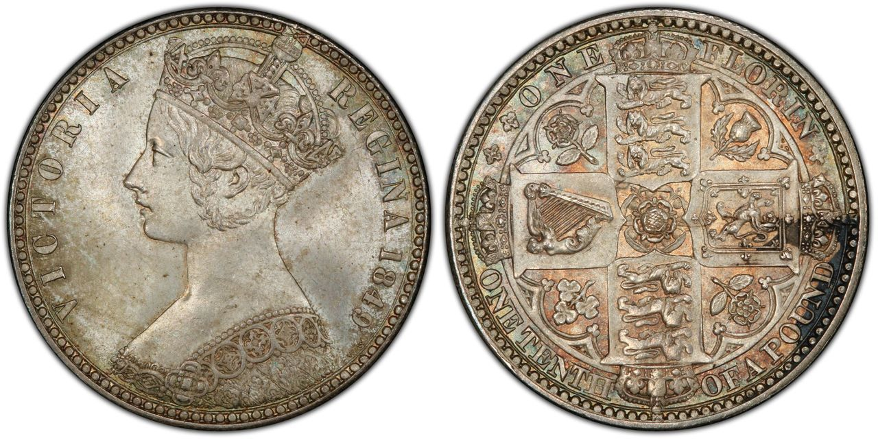 World coins: GREAT BRITAIN. Victoria. 1849 AR Florin, Two Shillings. Images courtesy Atlas Numismatics