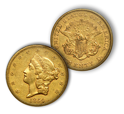 1854-S $20 Gold Coin NGC EF45. Image Source: Goldberg Auctioneers