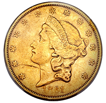 1861 $20 Gold Coin - Details Grade - Image Source: Heritage Auctions