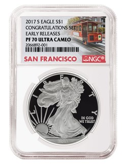 2017-S American Silver Eagle Proof coin in special San Francisco trolley label. Image courtesy NGC