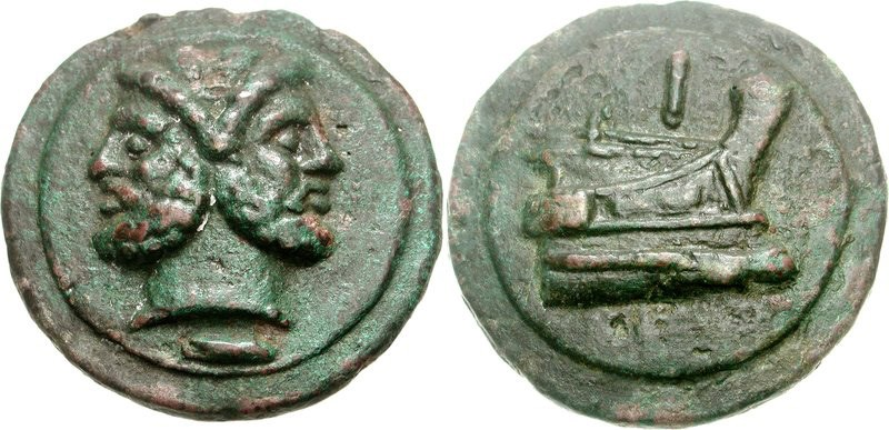 A cast copper as of the Roman Republic (issued c.225 to 217 BCE). Images courtesy CNG, NGC