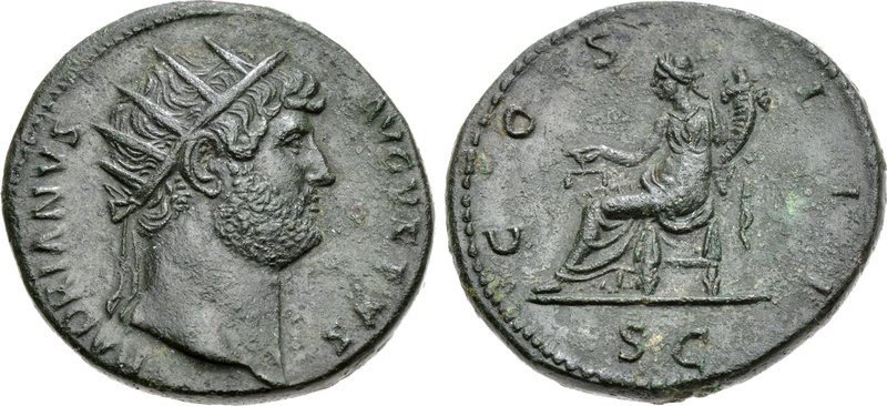 Brass dupondius of Hadrian. Images courtesy CNG, NGC