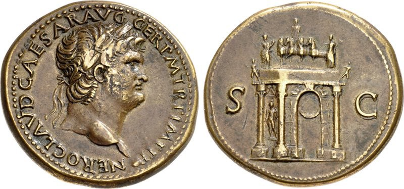 Brass sestertius of Nero. Images courtesy CNG, NGC