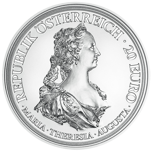 Austria 2017 Maria Theresa - Treasures of History: Bravery and Determination 20 Euro Proof Silver Coin. image courtesy Austrian Mint