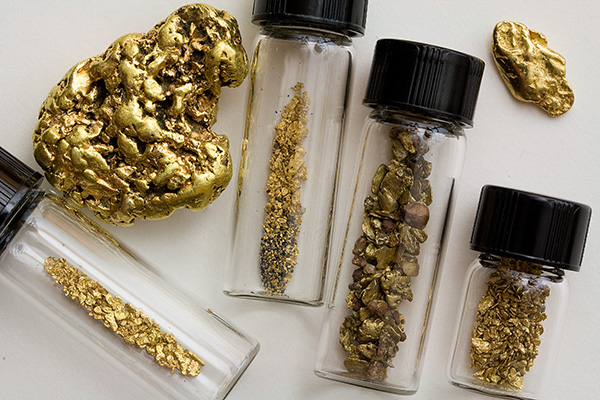 Assortment of placer gold nuggets