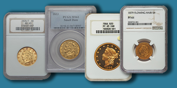 An Assortment of four gold coins from Heritage Auctions 2017 CSNS Auction