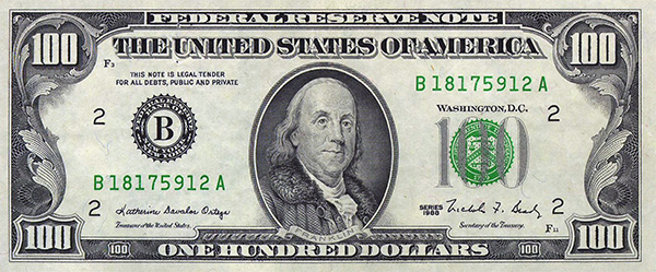 Series 1988 $100 Federal Reserve Note Sold by Heritage Auctions in 2003
