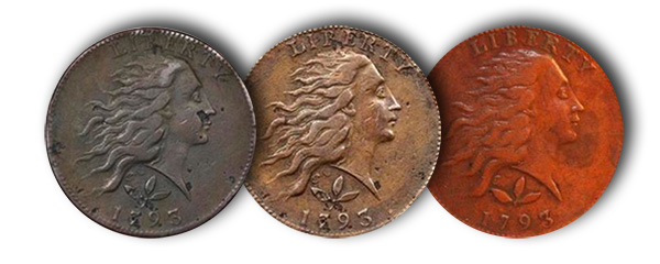 1793 Cent S-5: Original example, repaired example, and documented fake